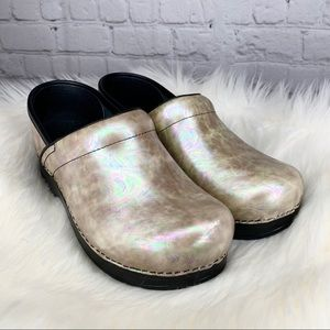Dansko Professional Silver Opal Leather Clogs 37